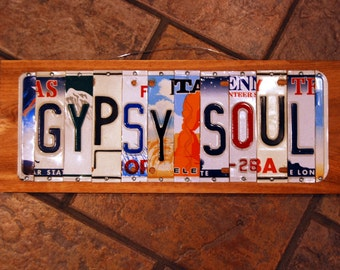 GYPSY SOUL custom license plate signs / Shabby Chic/ Gypsy Chick