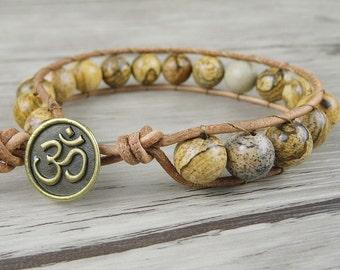 Beaded wrap bracelet boho bracelet leather wrap bracelet Picture Jasper beads bracelet Gypsy wrap bracelet Jewelry  SL-0001