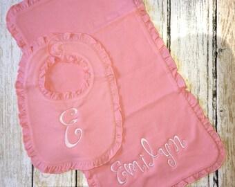 Bib and burp cloth set, monogrammed bib, monogrammed burp cloth, monogrammed baby gift