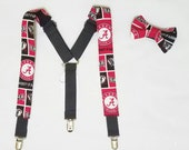 Alabama Crimson Tide Suspender Set, Alabama Accessories, University of Alabama Suspenders and Bow tie or Hair Bow, Bama Suspenders Set