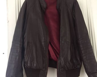 Vintage brown leather jacket bordeaux red lining size M/L