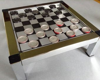 Vintage Mid Century Modern Chrome Checkers Table, Vintage Games