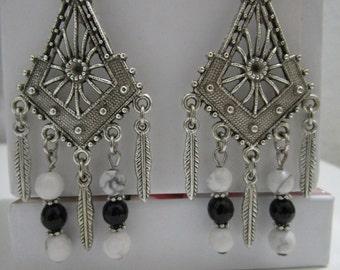 Earrings gemstone earrings onyx Howlite, gift for woman