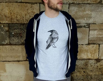 Handmade Silk-screen Printed Raven T-shirt