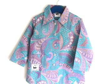 "Schoolboy turquoise printed apron ""Kashmir"""