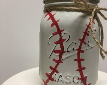 Fresh Cut Grass scented hand poured soy wax candle in Hand Painted baseball in pint size mason jar