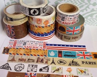 Washi Sample - Travel Washi Sample - Stamp Washi - Paris Washi - USA Washi - England Washi