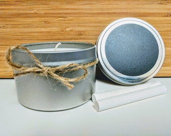 Customizable Natural Soy 8 oz Tin Candle With Chalkboard Surface Top, Perfect Gift or Party Favor