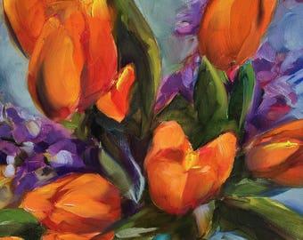 spring tulips // orange tulips // tulip painting // tulip art // spring flowers // spring flower painting // original art // fine art