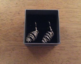 Silver plated spiral dangle earrings