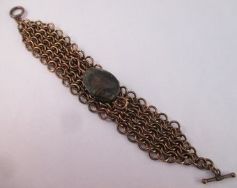 Handmade Chainmail Bracelet with Labradorite - 16 Gauge Bronze Plated Copper Core Wire - 4-in-1 - 7 inches - Crystal Cave