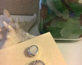 Handmade sterling silver Hawaiian shell stud earrings