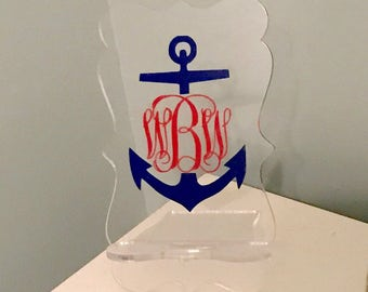 Preppy Anchor Monogram, Cell Phone Stand, Anchor Monogram, Docking Station, Charger Stand, Cell Phone Station, Cell Phone, Stocking Stuffer