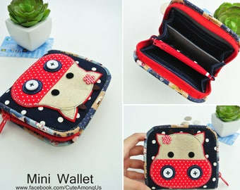 Innocent Cow Mini Wallet, Small Bi-fold Organizer Wallet, Zipper Coin Wallet, Fabric Coin Purse, Small Wallet, Gift for Her - Made to Order