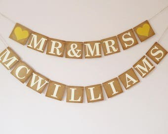 Personalised wedding bunting, gold, vintage, rustic wedding decoration