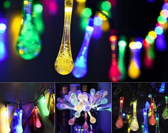 30 Solar Powered LED Water Drop Icicle Lights - 20 feet long - Multi-Color - USA Seller - Super Fast Shipping