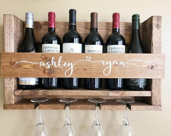Wedding Gift Wine Rack | Wall Mounted Wine Rack | Personalized Wine Rack | Rustic Wine Rack | Wine Glass Rack | Handmade Wine Rack | Gift