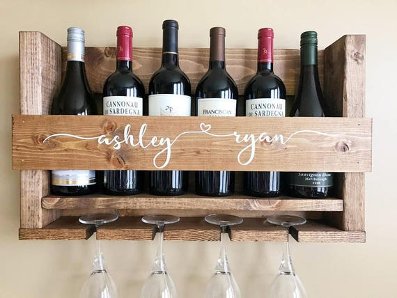 Wedding Gift Wine Rack Wall Mounted Wine Rack Personalized