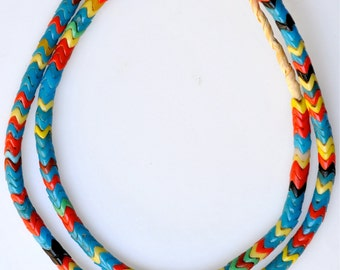 Vintage French Snake Beads from the African Trade - Mixed Color Glass Snake Beads - 27 Inch Strand