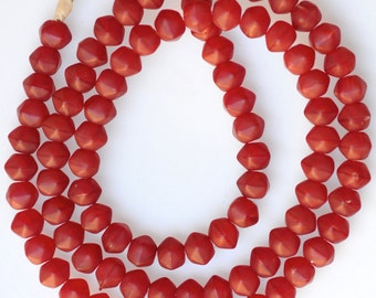 Vintage Czech Glass Beads - 9mm Red Multifaceted Beads - African Trade Beads - 26 Inch Strand