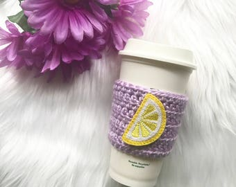 Violet Lemonade Coffee Cozy - Lemon Coffee Sleeve - lemon coffee cup cozy - lemon coffee cozy - Violet Lemonade cup cozy - Violet Lemonade