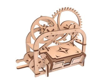 Mechanical Model of Business Card Holder Casket for Laser CNC Cutting Wooden Gift Box Plywood Box Wood Box Cut Model svg cdr ai pdf Files