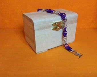 purple and silver Mars weave bracelet