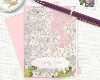 personalized stationery set - GRANDMA'S LILACS in PINK - set of 8 folded note cards - custom stationary - flower cards - floral - botanical
