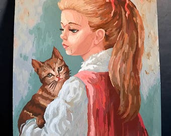"Vintage Paint By Number Girl With Cat 16""x20"""