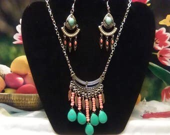 Turquoise and pink necklace and earring set