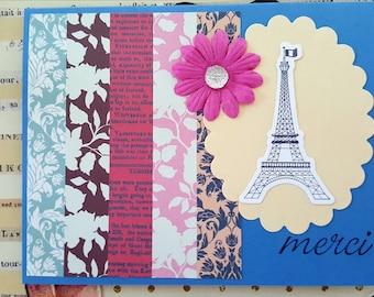 Paris Thank You Card * Eiffel Tower Thank You Card * Merci Card Handmade