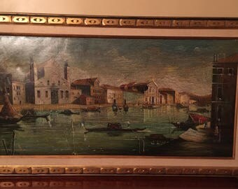 Large Signed Painting of Venice, Italy Vintage
