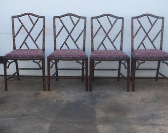 Elegant Vintage Set Of Six Faux Bamboo Dining Chairs
