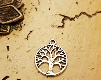 Tree Of Life Charm,  Silvertone