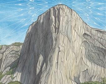 Climbing Art Print - El Capitan, Yosemite Valley Painting - 11x14 Giclee Print