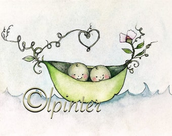Two Peas in a Pod- watercolor peadpod twin print