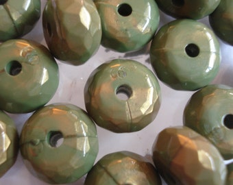 10 Acrylic Faceted Rondelle Beads Marble Green/Gold 9x16mm