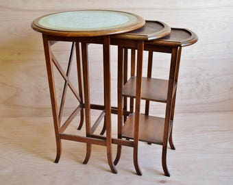 antique side tables victorian 3 tiered nesting tables coffee tables with glass top and