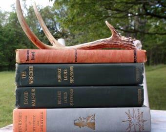 Beautiful Set of Hardback Display Books by Robert Louis Stevenson Treasure Island David Balfour Short stories book and The Wrecker