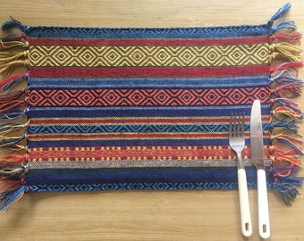 Handmade Hmong Thai Tribal 100% Woven Colorful Cotton Placemats Kitchen Dining Table Mats