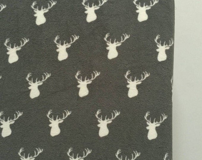 Grey and white deer shilouette thick chenille fitted crib sheet