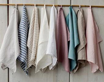 Stonewashed linen tea towel. 12 colours. Linen hand towel. Soft linen. Natural kitchen towel. Linen towel. Dish towel.