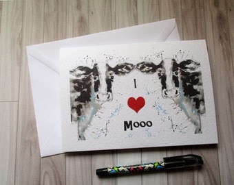 I love Mooo, valentines card, cow valentines card, fun valentines card, lovers card, love you card