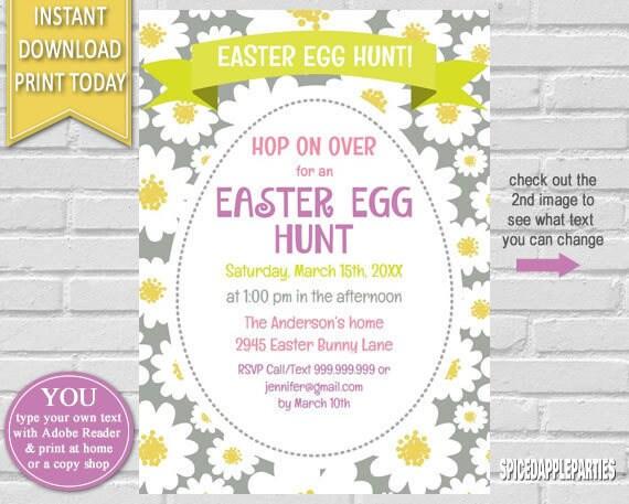 Easter Egg Hunt Invitation Easter Invitation Egg Hunt Invitation