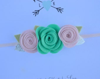 Soft Mint and Pale Pink Mini Felt Flower Crown