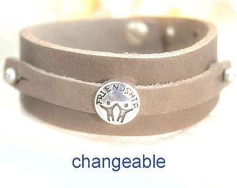 Leather Bracelet with slide friendship 18-22 cm of adjustable taupe #4260