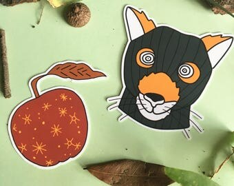Fox and Apple Sticker