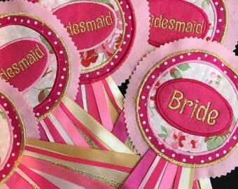 Bridesmaid Rosettes, Bride Badge, Hen Night, Gift for Bridesmaid, Gift for Bride, personalised gift for Bridesmaid, Hen Party gift, Wedding