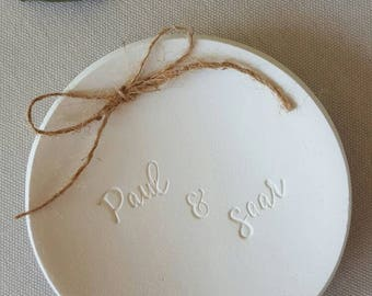 Handletter Ring Dish ~ Wedding Ring Dish ~ Personalized Ring Dish ~ Wedding Ring Bearer