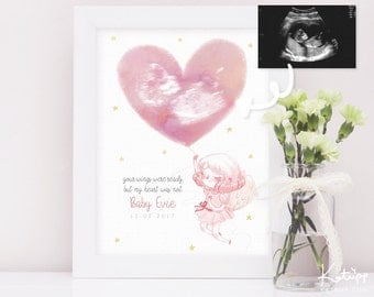 Miscarriage Keepsake - Baby Angel Illustrated Art Print - Ultrasound Art Print -  Your wings were ready but our hearts were not